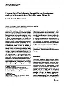 Potential Use of Newly Isolated Bacterial Strain Ochrobactrum anthropi in Bioremediation of Polychlorinated Biphenyls