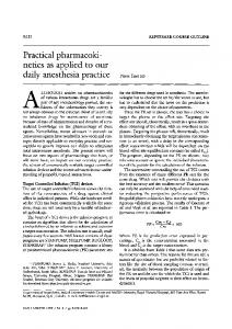 Practical pharmacokinetics as applied to our daily anesthesia practice
