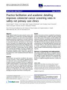 Practice facilitation and academic detailing improves colorectal cancer screening rates in safety net primary care clinics