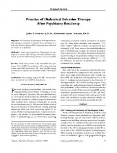 Practice of Dialectical Behavior Therapy After Psychiatry Residency