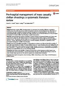 Pre-hospital management of mass casualty civilian shootings: a systematic literature review