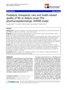Predialysis therapeutic care and health-related quality of life at dialysis onset (The pharmacoepidemiologic AVENIR study)