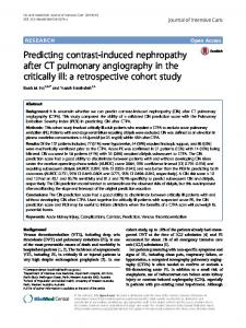 Predicting contrast-induced nephropathy after CT pulmonary angiography in the critically ill: a retrospective cohort study