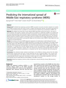 Predicting the international spread of Middle East respiratory syndrome (MERS)