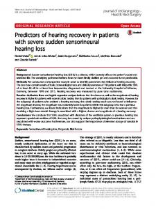 Predictors of hearing recovery in patients with severe sudden sensorineural hearing loss