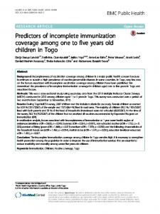 Predictors of incomplete immunization coverage among one to five years old children in Togo