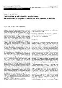 Predisposition to self-administer amphetamine: the contribution of response to novelty and prior exposure to the drug