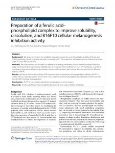 Preparation of a ferulic acid–phospholipid complex to improve solubility, dissolution, and B16F10 cellular melanogenesis inhibition activity