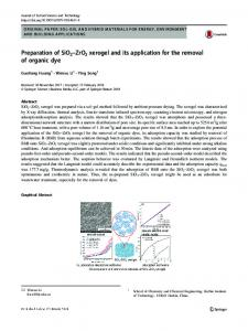 Preparation of SiO2–ZrO2 xerogel and its application for the removal of organic dye
