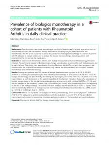 Prevalence of biologics monotherapy in a cohort of patients with Rheumatoid Arthritis in daily clinical practice