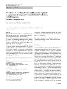Prevalence of Candida albicans and bacterial vaginosis in asymptomatic pregnant women in South Yorkshire, United Kingdom