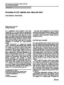 Prevention of ACL injuries: how, when and who?