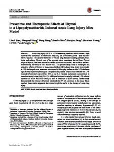 Preventive and Therapeutic Effects of Thymol in a Lipopolysaccharide-Induced Acute Lung Injury Mice Model