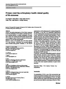 Primary total hip arthroplasty: health related quality of life outcomes