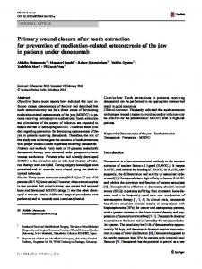 Primary wound closure after tooth extraction for prevention of medication-related osteonecrosis of the jaw in patients under denosumab