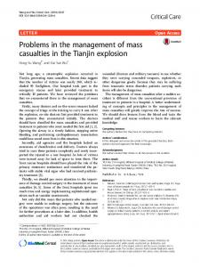 Problems in the management of mass casualties in the Tianjin explosion