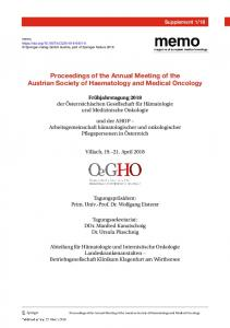 Proceedings of the Annual Meeting of the Austrian Society of Haematology and Medical Oncology