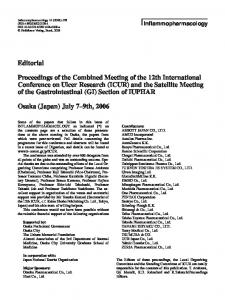 Proceedings of the Combined Meeting of the 12th International Conference on Ulcer Research (ICUR) and the Satellite Meeting of the Gastrointestinal (GI) Section of IUPHAR