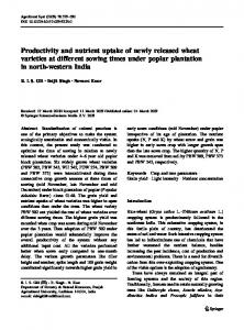Productivity and nutrient uptake of newly released wheat varieties at different sowing times under poplar plantation in north-western India