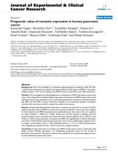 Prognostic value of metastin expression in human pancreatic cancer