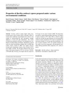 Properties of Bacillus anthracis spores prepared under various environmental conditions