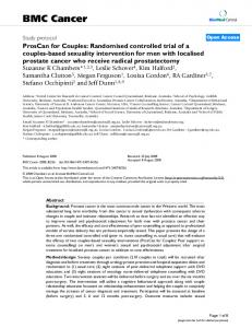 ProsCan for Couples: Randomised controlled trial of a couples-based sexuality intervention for men with localised prostate cancer who receive radical prostatectomy