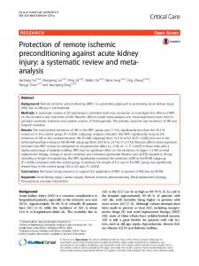 Protection of remote ischemic preconditioning against acute kidney injury: a systematic review and meta-analysis