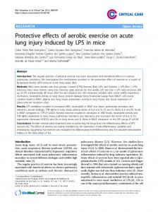 Protective effects of aerobic exercise on acute lung injury induced by LPS in mice