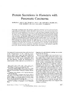 Protein secretions in hamsters with pancreatic carcinoma