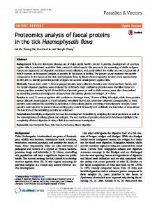 Proteomics analysis of faecal proteins in the tick Haemaphysalis flava
