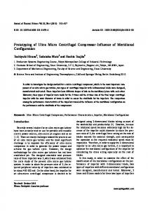 Prototyping of ultra micro centrifugal compressor-influence of meridional configuration