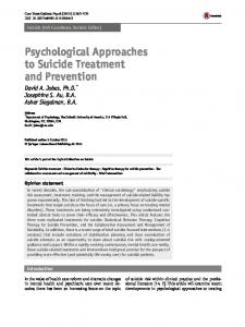 Psychological Approaches to Suicide Treatment and Prevention