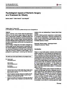 Psychological Aspects of Bariatric Surgery as a Treatment for Obesity