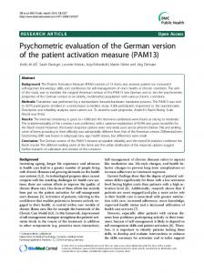 Psychometric evaluation of the German version of the patient activation measure (PAM13)