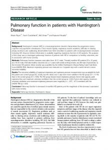 Pulmonary function in patients with Huntington's Disease
