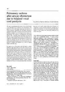 Pulmonary oedema after airway obstruction due to bilateral vocal cord paralysis