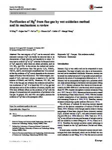Purification of Hg0 from flue gas by wet oxidation method and its mechanism: a review