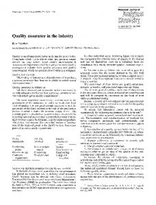 Quality assurance in the industry