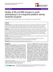 Quality of life and BMI changes in youth participating in an integrated pediatric obesity treatment program