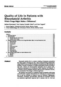 Quality of life in patients with rheumatoid arthritis