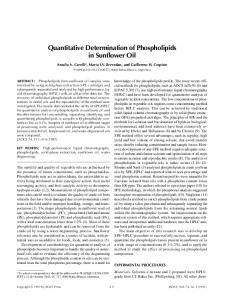 Quantitative determination of phospholipids in sunflower oil
