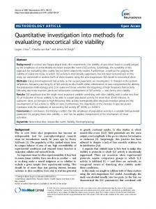 Quantitative investigation into methods for evaluating neocortical slice viability