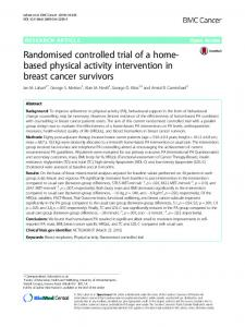 Randomised controlled trial of a home-based physical activity intervention in breast cancer survivors