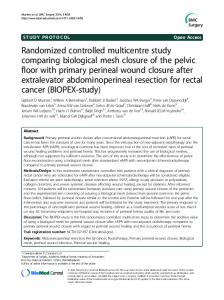 Randomized controlled multicentre study comparing biological mesh closure of the pelvic floor with primary perineal wound closure after extralevator abdominoperineal resection for rectal cancer (BIOPEX-study)