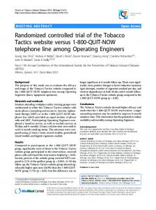 Randomized controlled trial of the Tobacco Tactics website versus 1-800-QUIT-NOW telephone line among Operating Engineers
