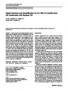 Rapid Detection and Quantification by GC–MS of Camellia Seed Oil Adulterated with Soybean Oil