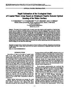 Rapid Estimation of the Ecological State of Coastal Water Areas Based on Shipboard Passive Remote Optical Sensing of the Water Surface