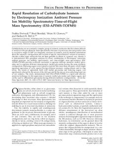 Rapid resolution of carbohydrate isomers by electrospray ionization ambient pressure ion mobility spectrometry-time-of-flight mass spectrometry (ESI-APIMS-TOFMS)