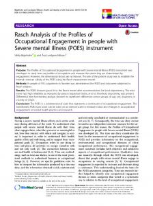 Rasch Analysis of the Profiles of Occupational Engagement in people with Severe mental illness (POES) instrument