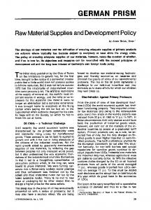 Raw material supplies and development policy